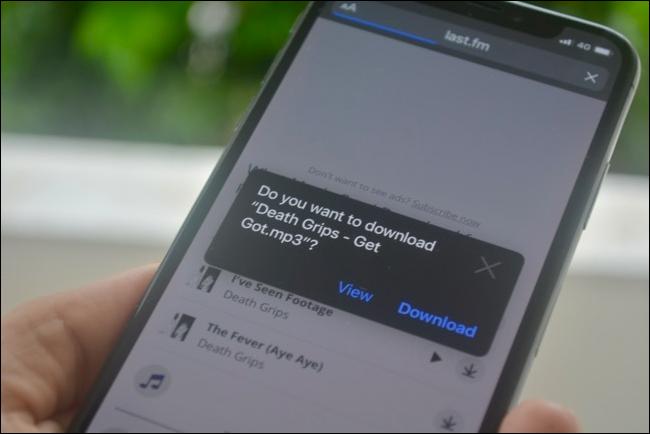 Download popup for files in Safari in iOS 13