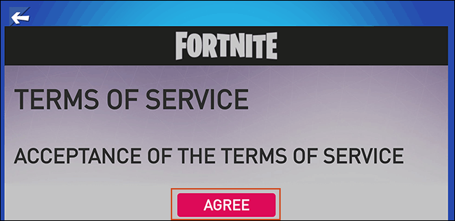 Accept the Fortnite Terms of Service