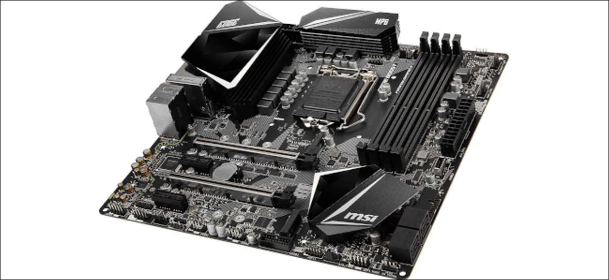 A bare gaming ATX motherboard.