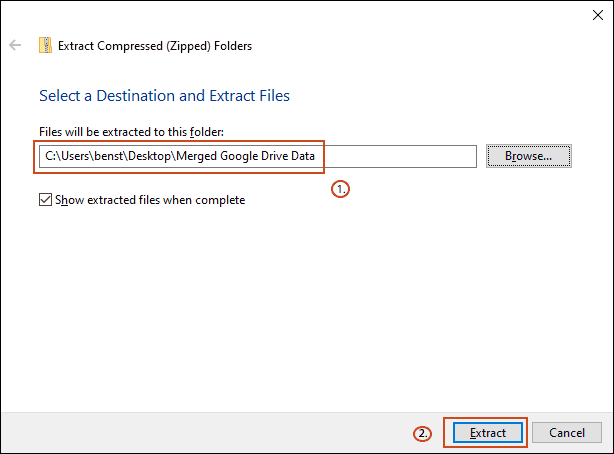 Change your destination folder to match your Google Backup merge folder, and then click Extract