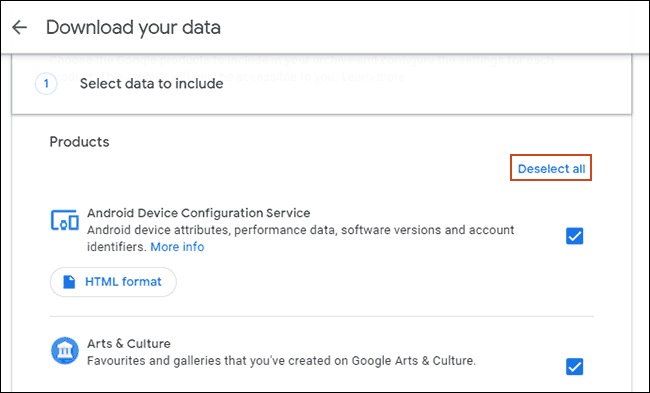 Click Deselect all in the Google Download your data tool