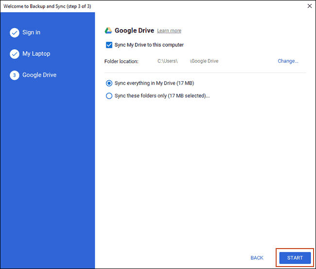 Choose your PC sync settings and click Start to begin syncing