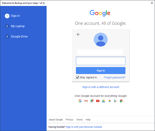 Sign in to your Google Account at the first stage of Google Backup and Sync setup