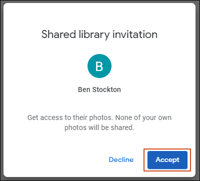 Click Accept to the Shared library invitation