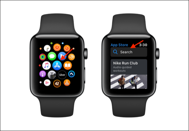 Open the App Store on Apple Watch and tap on Search
