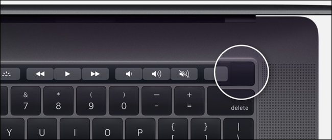 Power button on MacBook Pro with Touchbar model