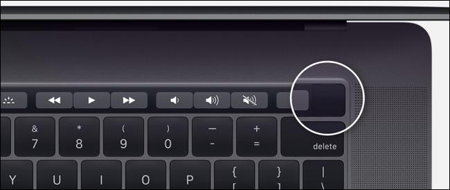 Power button on MacBook Pro with Touchbar model