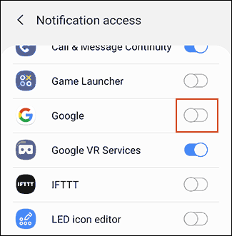 """Tap the toggle next to """"Google"""" to allow notifications."""