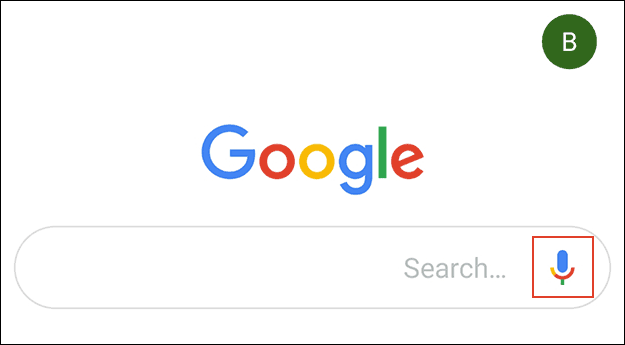The microphone icon in the Google app.