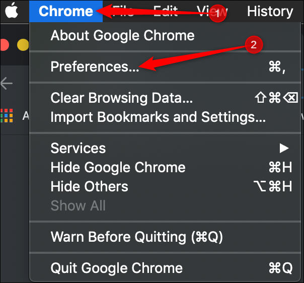 Click Chrome > Preferences from the menu bar.