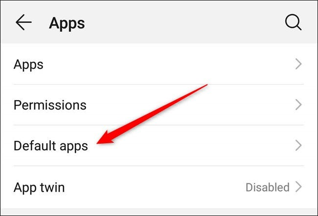 "Tap ""Default Apps."""