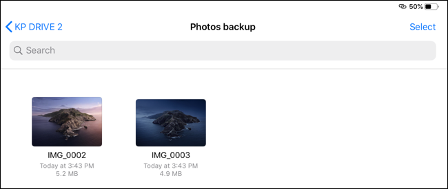 The moved images in the destination folder.