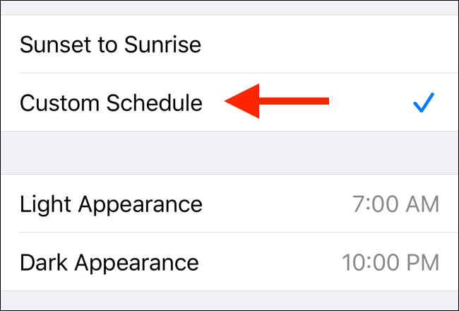 Set a Custom Schedule for Dark mode in iOS 13