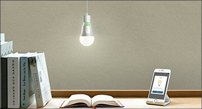 A TP-Link Wi-Fi bulb hanging over an open book and a cell phone on a desk.