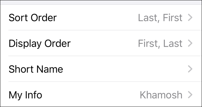 Take a look at all options for customizing Contacts app