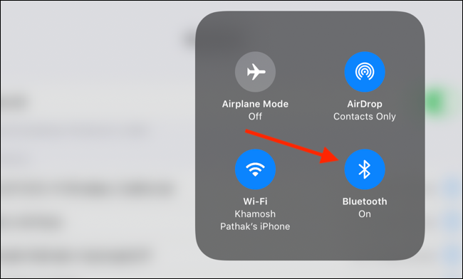 Tap and hold on the Bluetooth toggle