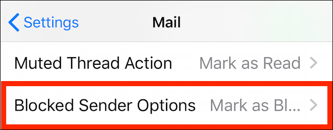 Tap on Blocked Sender Options in Mail Settings