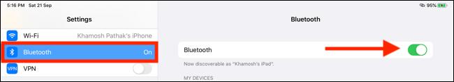 Toque Bluetooth y luego active la función Bluetooth
