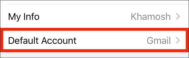 اضغط على الحساب الافتراضي من قسم جهات الاتصال