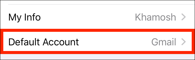 Tap on Default Account from Contacts section