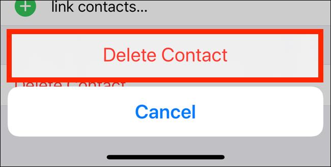 اضغط على حذف جهة الاتصال من النافذة المنبثقة