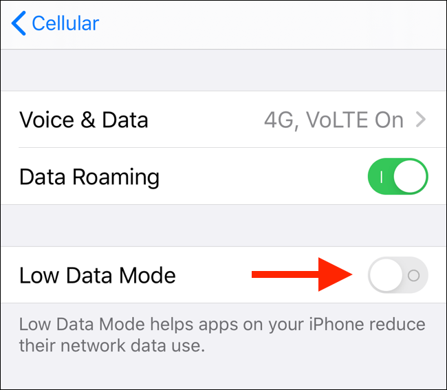 Tap on Low Data Mode toggle to enable Low Data mode