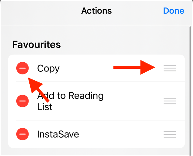 Tap on Minus to remove action from Favorites