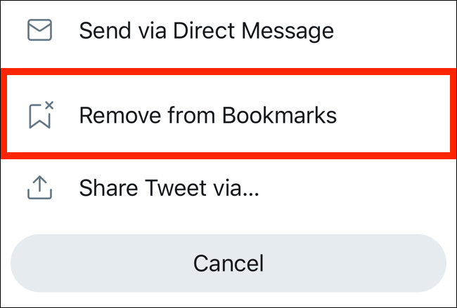 Tap on Remove from Bookmarks to remove the tweet from bookmarks page