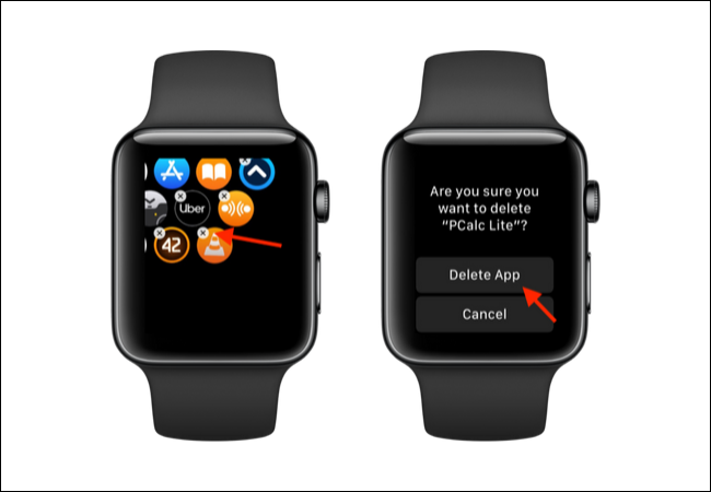 Tap on X button and then Delete button to delete an app from Apple Watch