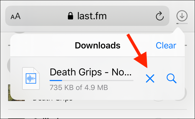 Tap on X button to stop a download