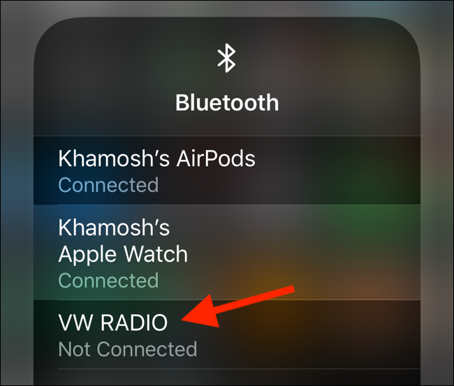 Tap on a Bluetooth device from the panel to select it