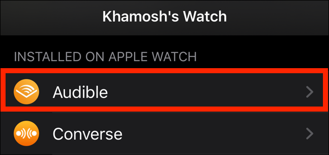 Tap on an Apple Watch app from the list