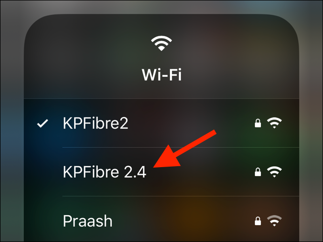 Tap on an available Wi-Fi network from the list to switch to it