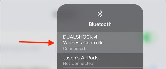 Toque el controlador en el menú de Bluetooth para desconectar
