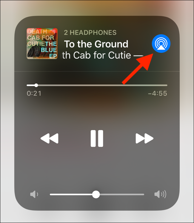 Tap on the AirPlay button from Now Playing section in Control Center