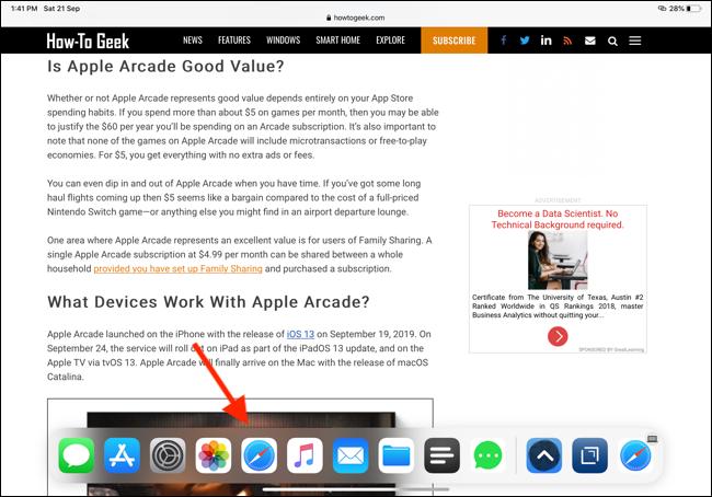 Tap on the Safari icon from Dock to open Safari App Expose