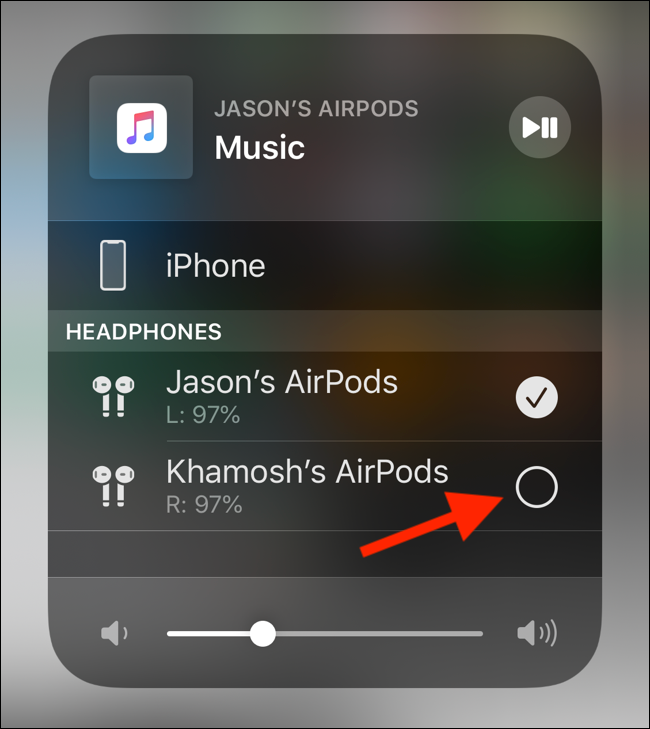 Tap on the second AirPods pair to connect to it