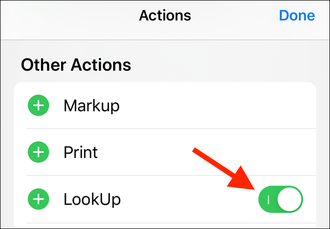 Tap on the toggle next to an action to disable it