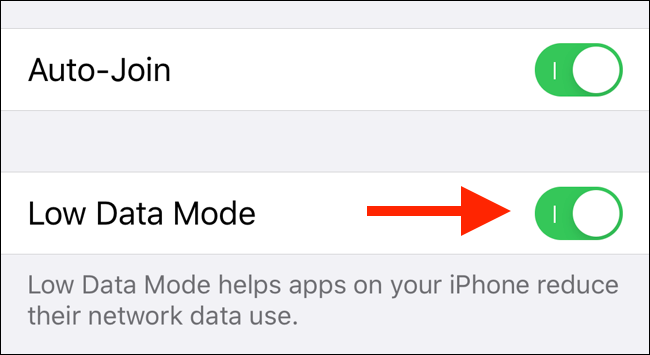 Tap on the toggle to enable Low Data mode for Wi-Fi
