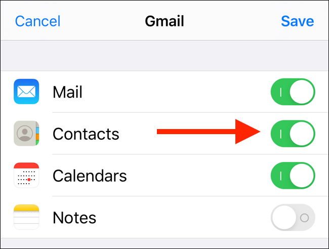Tap on toggle next to Contacts to enable contacts sync
