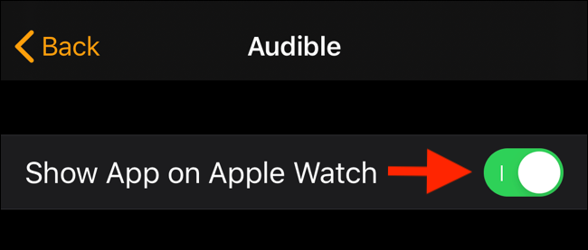 Tap on toggle to disable app from showing up on Apple Watch