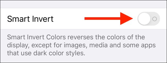 Turn on Smart Invert feature on iPhone
