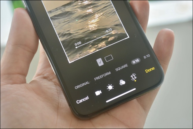 Video editing view for changing aspect ratio in Photos app in iOS 13