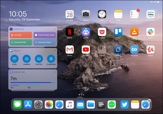 Widgets on an iPad Pro Home screen in landscape view.