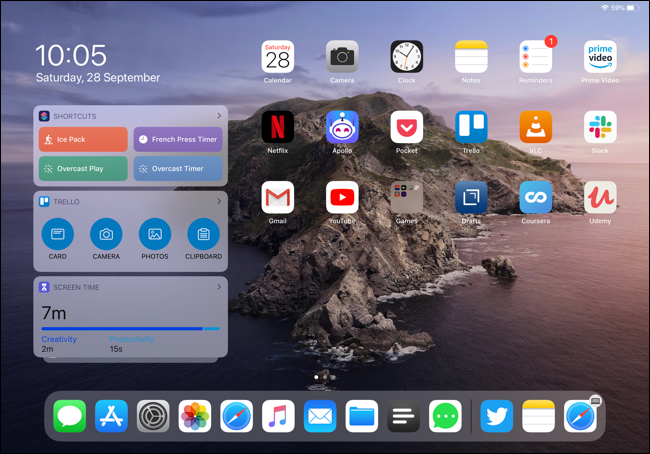 Widgets on an iPad Pro Home screen in landscape view.