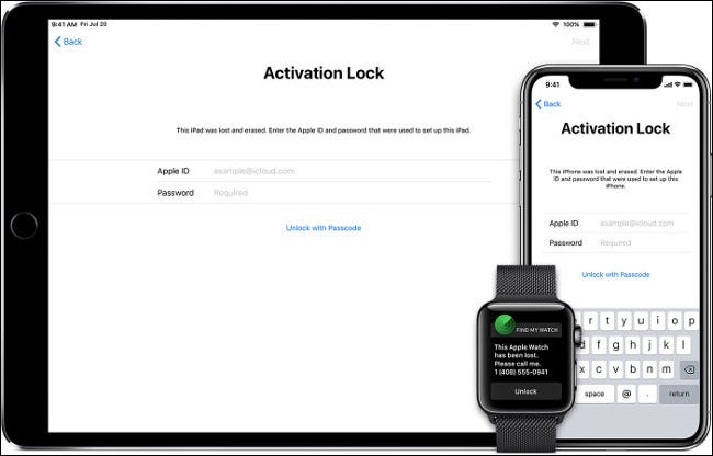 The Activation Lock screen on an iPhone, iPad, and Apple Watch.
