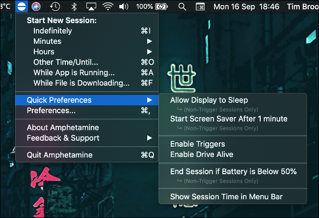 "The ""Quick Preferences"" menu in Amphetamine for Mac."