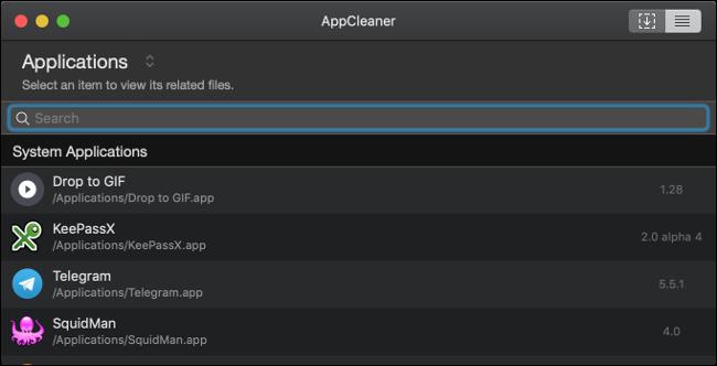 Una lista de aplicaciones en AppCleaner en una Mac.
