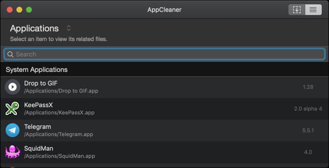 A list of applications in AppCleaner on a Mac.