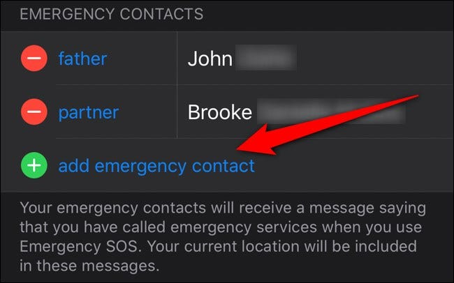 Apple iPhone Health App Select Add Emergency Contact